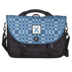 Custom Monogram Gift BLUE PLAID V25 Bags For Laptop  To see more Jaclinart customizable totes visit http://www.zazzle.com/jaclinart/gifts?cg=196427799858145824  #monogram #tote #wedding #jaclinart #bridesmaid