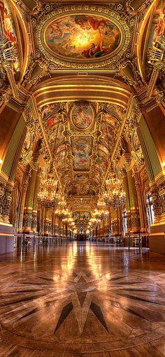 Ceiling Le grand foyer Opéra Garnier, Paris, France (HDR)
