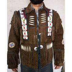 New Men Western Brown Native Cultural Fringe Jacket Coat Eagle Bead Bone Jacket Beaded Jacket, Fringe Jacket, Biker Leather, Suede Leather, Leather Jackets, Brown Eagle, Studded Jacket, Suede Coat, Brown Jacket