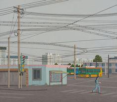 Aldo Damioli - Pechino, 2016, acrilico su tela, cm 70x80