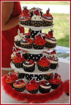 Ladybug cupcake display
