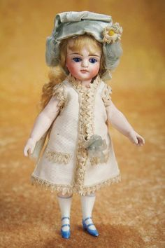 Large German All-Bisque Mignonette with Wonderful German Costume 1200/1600