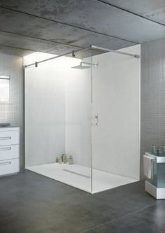 This large statement walk-in shower has been created in a modern warehouse style apartment using a Nature White coloured slate effect Privilege ultra-thin shower tray with matching shower wall paneling and a frameless fixed shower screen Shower Wall Panels, Shower Panels, Bathroom Furniture, Shower Tray, Bathroom Wall Panels, Large Shower Trays, Bathroom Design, Minimalist Bathroom, Shower Wall