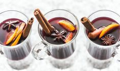 In Germany it's called Glühwein and it's occasionally made with with fruit wine; it's Glögg in Scandinavia, and usually served with a spiced cookie or cake; in Quebec they mix in maple syrup and hard liquor and call it Caribou. Holiday Drinks, Holiday Recipes, Christmas Recipes, Cinnamon Drink, Warm Wine, Non Alcoholic Wine, Party Punch Recipes, Mulling Spices, Holiday Punch