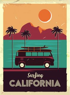 International Shopping: Shop Sports and Outdoor products that ship Internationally Surf California Coastline Vintage Van Palm Trees Cool Wall Decor Art Print Poster 24 x 36 Surf Vintage, Vintage Surfing, Retro Surf, French Vintage, Collage Mural, Photo Wall Collage, Vintage Advertising Posters, Vintage Travel Posters, Collage Des Photos
