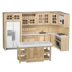 """There are lots of details in this modern kitchen set. The wooden kitchen features working drawers and doors. Freezer and fridge have interior shelves. Fridge and microwave are removable from cabinets. When arranged as shown, the set needs 11 3/4"""" space on one wall and 51/2"""" on the other. The island has cabinets on both sides. Contact us for measurements.  -  Our Price: $132.00"""