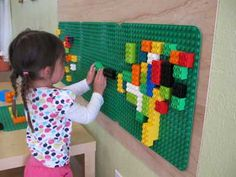 Fascinating Lego Wall for Kids Room Decor, good for an office wall maybe? Stress buster for adults..or dr office for kids