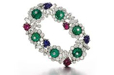 "Emeralds, rubies and sapphires,  example of ""tutti frutti"" design."