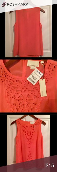 NWT Cynthia Rowley Coral Sleeveless Silk Blouse Delicate, wispy 100% silk blouse. Light and airy. Perfect for hot summer days. Looks great with jeans even dressed up with a cute skirt! Tag says XS that wears more like a small. Cynthia Rowley Tops Blouses
