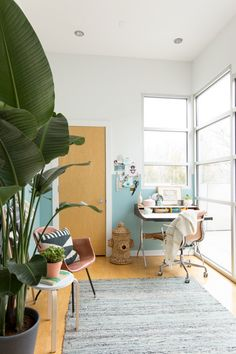Colorful Modern Office Makeover - blue wall - partial half wall paint ombre white and blue photo design studio idea