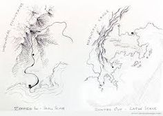 Small step-by-step tutorial to draw looking fantasy maps. Fantasy map - Step by step tutorial Map Painting, Painting & Drawing, Fantasy Map Making, Scale Map, Mountain Drawing, Map Maker, Art Tutorials, Drawing Tutorials, Drawing Tips