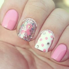 Cute Pink and White Dotted Nail Design.