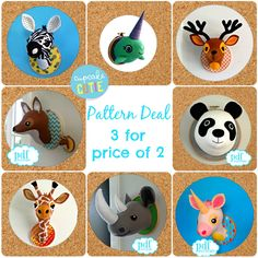 Animal head sewing pattern. Faux taxidermy pattern deal. 3 for price of 2. Giraffe, Deer, Panda, Fox, Zebra, Unicorn, Rhino, Narwhal. by cupcakecutie1 on Etsy https://www.etsy.com/listing/223150296/animal-head-sewing-pattern-faux