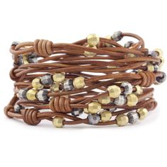Chan Luu - Silver Mix Bead Wrap Bracelet on Natural Brown Leather, $230.00