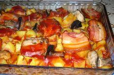 Cartofi la cuptor cu ciuperci si kaizer Romanian Food, Romanian Recipes, European Dishes, Hawaiian Pizza, French Toast, Lunch, Breakfast, Pork, Salads