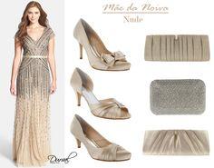 Dica de look para a mãe da noiva ou do noivo, vestido combinando com sapato e bolsa.