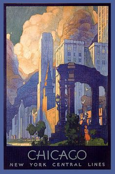 BUILDINGS GREAT CHICAGO NEW YORK CENTRAL ILLINOIS VINTAGE POSTER REPRO LARGE | eBay