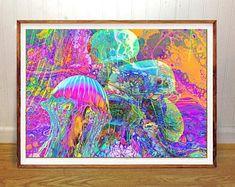Ocean Jellyfish wall art print, abstract, home wall decor, apartment wall art, gift, poster, beach cottage art