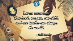 """One book, one pen, one child & one teacher can change the world."" - Malala Yousafzai #quote #life #change #love #educate #learn #peace #inspiration #insight #wisdom #motivation #malalayousafzai #thankful #success #greatsuccess #successquotes #selfhelp #lifequotes #makeachange #dailyinspiration"