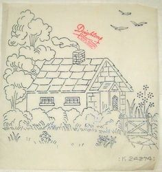 Vintage Thatched Cottage pattern ~ Deighton transfer for hand embroidery