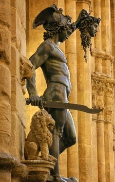Perseus with the head of Medusa by Cellini in the Loggia dei Lanzi at the Piazza della Signoria.