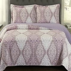 Quilt Coverlet with Pillow Shams Set King/Cal King Size Oversized (110x96) - Mandala Medallion Pattern Purple Plum - Lightweight Reversible Wrinkle Free Hypoallergenic 3 Piece Bedding