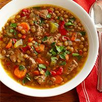 Lentil Soup with Beef and Red Pepper  serving: 265 kcal cal., 7 g fat (2 g sat. fat, 1 g polyunsaturated fat, 3 g monounsatured fat), 50 mg chol., 353 mg sodium, 24 g carb., 11 g fiber, 3 g sugar, 26 g pro