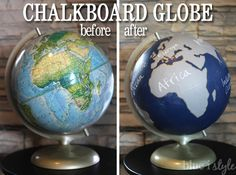 a chalkboard globe using clear chalkboard paint, chalkboard paint, crafts, diy Globe Art, Map Globe, Globe Decor, Chalkboard Paint Crafts, Chalkboard Drawings, Chalkboard Lettering, Argyle Wall, Home Crafts, Diy Crafts