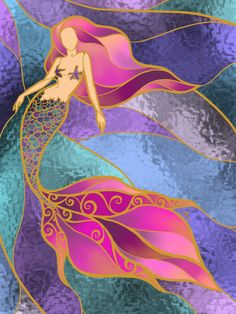 Stained Glass Quilt, Stained Glass Crafts, Faux Stained Glass, Stained Glass Designs, Stained Glass Patterns, Fantasy Mermaids, Mermaids And Mermen, L'art Du Vitrail, Mermaid Quilt