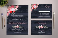 Floral Wedding Invitation Template by Incredible Prints on @creativemarket
