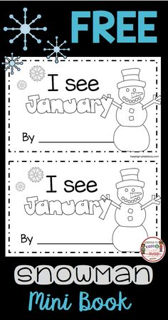 FREE Snowman Mini Reader - Winter emergent reader - perfect kindergarten literacy center for January #snowman #winter #kindergarten