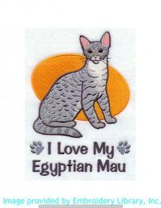 Stickmotiv Stickbild Aufnäher Stickerei Emblem ägyptische-Mau  ägyptische-Mau /  Stickerei I Love My Egyptian Mau (E5196)