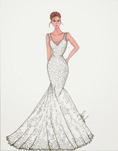 Custom Bridal Illustration - Great gift for brides! Get yours on my Etsy page!