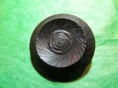 "1 - 1 & 3/8"" DECORATIVE BLACK PLASTIC METAL SHANK COAT BUTTON - VINTAGE Lot#N40"