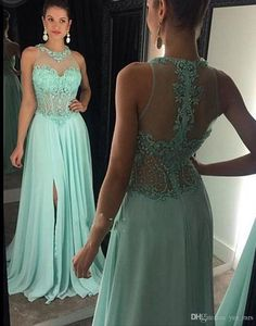Vestido De Festa Prom Dresses 2016 Jewel Neck Crystal Beading Illusion Chiffon Yellow Side Split Sheer Back Party Dress Formal Evening Gowns Online with $129.84/Piece on Yes_mrs's Store | DHgate.com