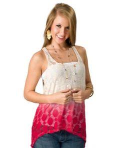 f3a0df4e438e5 Vintage Havana® Women s Tan and Coral Dip Dyed Crochet Knit Tank Fashion Top