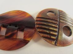 Vintage Buttons  Lot of 2 tortoiseshell large by pillowtalkswf, $7.95