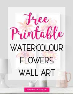 watercolour flowers free printable wall art