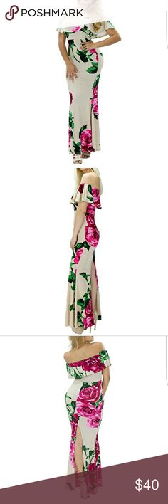 """FREE SHIPPINGTAUPE ROSE OFF THE SHOULDER DRESS ❤PERFECT VALENTINES DAY PICK❤TAUPE ROSE PRINT """"OFF THE SHOULDER"""" BODYCON FLOOR LENGTH DRESS is DIVINE! ?? Very feminine and flirty!  High back slit to allows for easy walking and extra """"sass""""!  95^ Polyester, 5% Spandex Length:  51""""  *MADE IN U.S.A.*  ***PRICE IS FIRM UNLESS BUNDLED*** Dresses Strapless"""