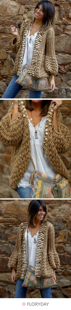 - Sweater Fashion - Manteaux à manches longues Fall for the details of this sweater. Boho Fashion, Fashion Outfits, Womens Fashion, Sweater Coats, Sweaters, Ethno Style, Mode Top, Mode Inspiration, Sweater Fashion