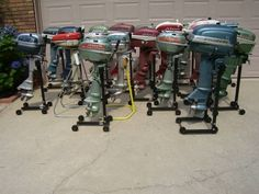 bunch of old refurbished outboard motors