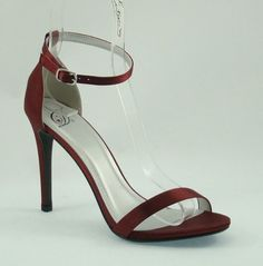 "Women's Stiletto Shoes. NEW 4"" Heel. Ankel Strap. Wine (VINO) Color (P71)"