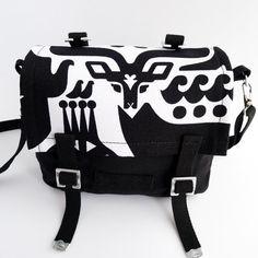 Small Messenger Bag  Marimekko  Canvas  Black  White by IppuStudio, €50.00
