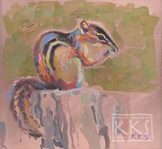 """Chippie II, A Chipmunk Portrait on Copper, by Kimberly Kelly Santini 6"""" square, $599"""