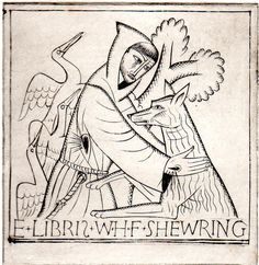 """St. Francis and the Wolf"" Bookplate for Walter Shewring by David Jones, 1925 (wood engraving)"