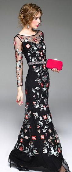 Black High Slit Embroidered Dress