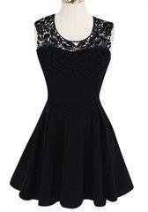Crochet Cutaway Dress - Black - Glam Crochet Cutaway Neckline Dress