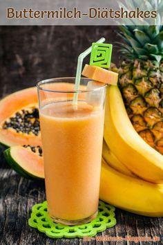 Buttermilch-Shake Tropical - ein Rezept mit viel Eiweiß und wenig Kalorien, perfekt zum Abnehmen, gesund und lecker ...