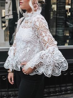 Sensational Hollow Out Lace Flare Sleeve Casual Blouse. Such a stunning creation to wear for any wedding or specal Source by clothes tops Lace Outfit, Dress Outfits, Lace Dress, Casual Outfits, White Lace Blouse, Hijab Fashion, Fashion Dresses, Style Fashion, Look Boho