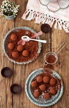 Trufas de chocolate a la naranja y agua de azahar